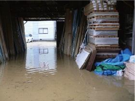 水害被害を受けた倉庫
