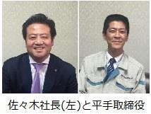佐々木社長(左)と平手取締役
